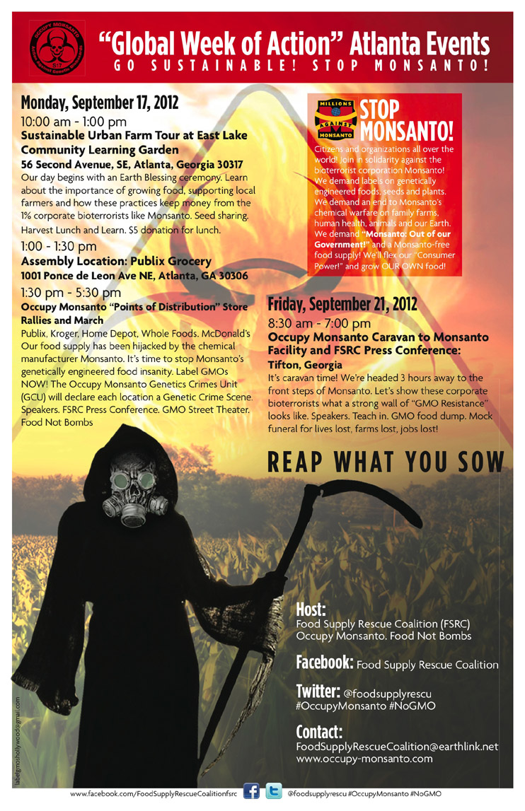 GCU Atlanta Poster web Atlanta GCU Schedule of Events Whole Foods Market Rally Publix Grocery Protest Press Conference McDonalds Kroger Home Depot GMO Resistance GCU Food Supply Rescue Coalition Food Not Bombs Demonstration Atlanta ATL Angent Orange
