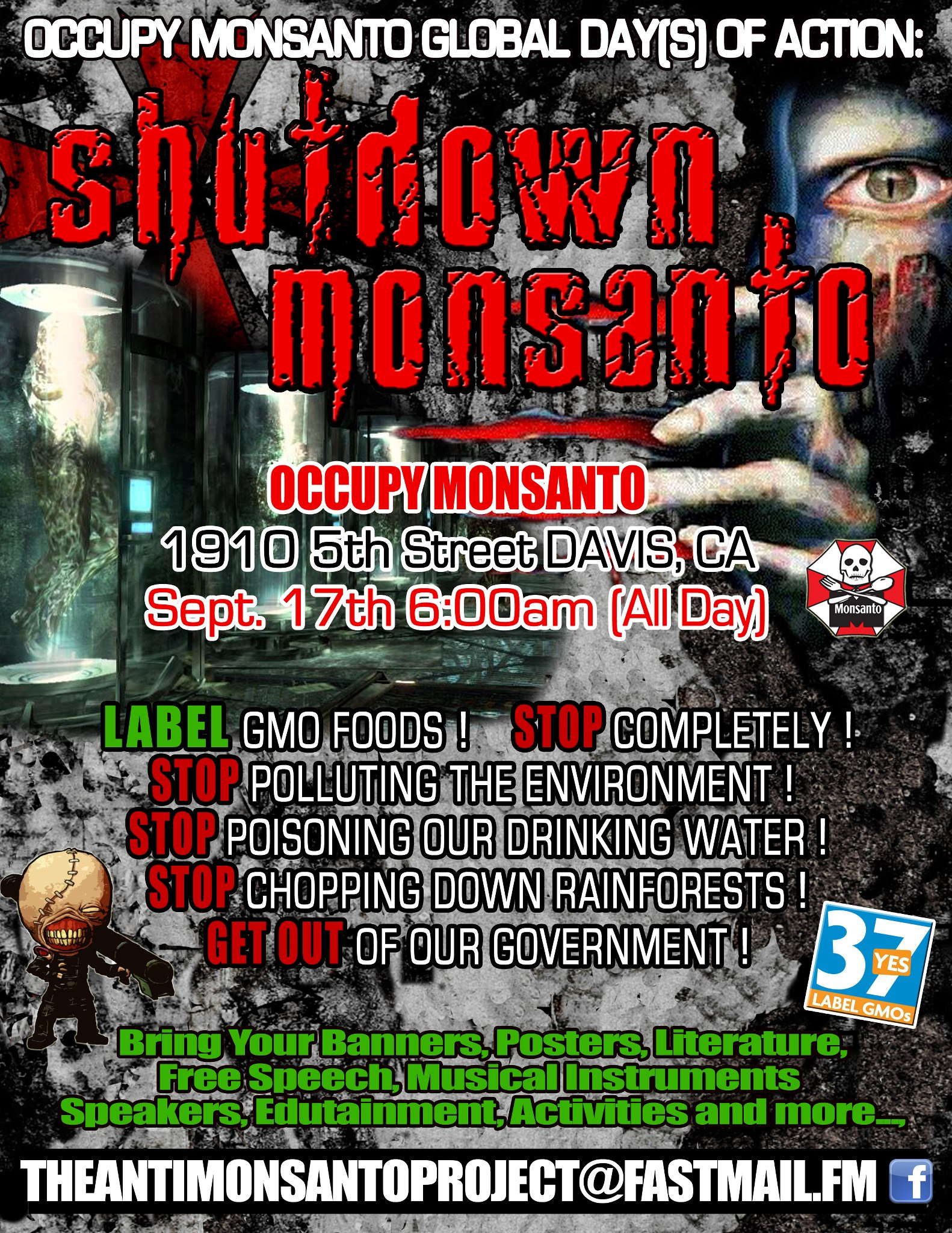 Shutdown Monsanto Davis CA Shutdown Monsanto   Davis, California   6:00AM, September 17, 2012 Shutdown Protest Occupy Graphic Flyer Flier Demonstration Davis California CA Anti Monsanto Project