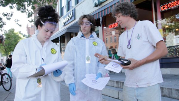 2 canvass INCIDENT REPORT: Genetic Contamination Found in Northampton, MA Street Theater Protest Northampton Massachusetts GMO Corn Genetic Contamination GCU Frankencorn Frank N. Food Field Agent Demonstration Bt toxin