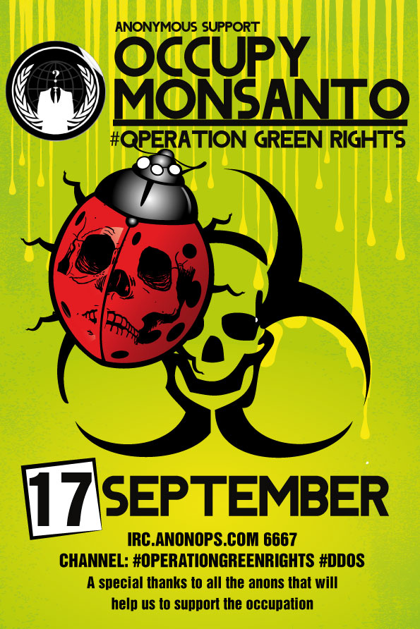 DDOSopmonsanto12 #OperationGreenRights Anonymous support occupation of Monsanto Operation Green Rights DDOS Anonymous ANON