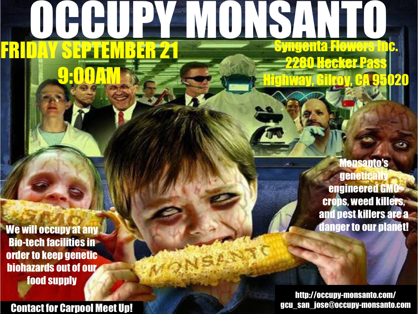 OccupyMonsantoFlier Gilroy Occupy Syngenta! Gilroy, CA, 9:00AM, 9/21 Syngenta Protest Occupy Monsanto Gilroy GCU Demonstration Decontamination Event California CA Activism