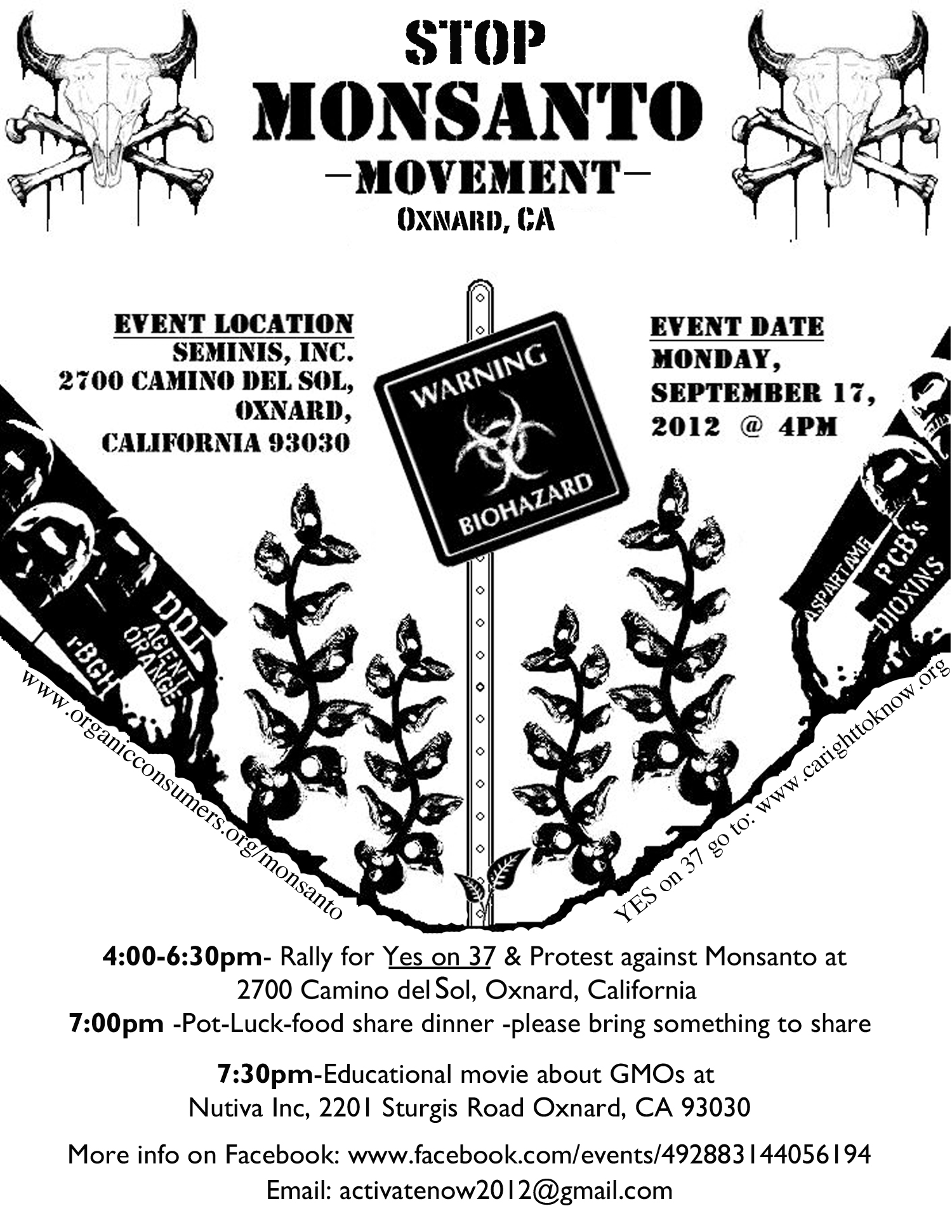 Oxnard MonsantoFlyerFinal Stop Monsanto Movement   Oxnard, California, 4:00PM, 9/17 Stop Monsanto Movement Protest potluck Oxnard Nutiva Movie GCU food Demonstration Decontamination Event California CA