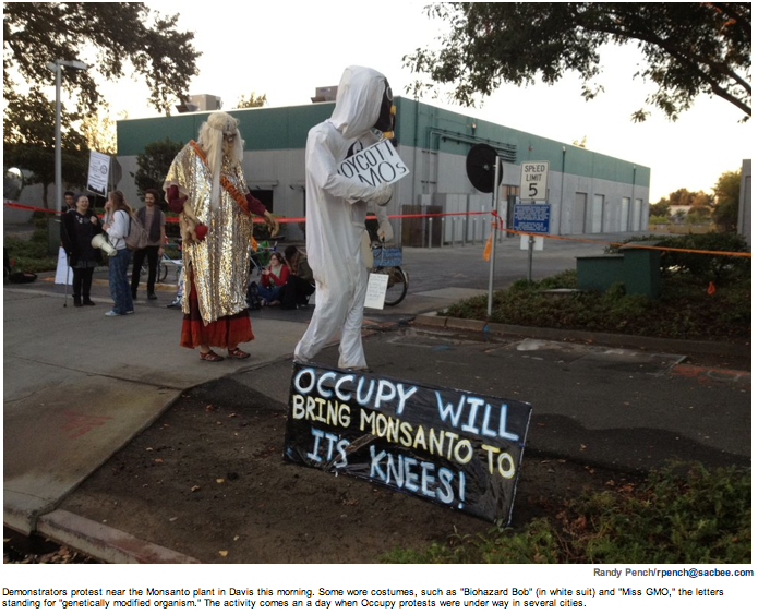 Sac Bee Randy Pench Monsanto Shutdown Sacramento Bee: Occupy protesters demonstrate outside Monsanto plant in Davis Steven Payan Shutdown Sacramento Bee Sacramento Protest Occupy Woodland Monsanto gmo Demonstration Davis California CA 