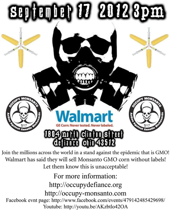 occupy monsanto defiance22 INCIDENT REPORT: Photos from GCU Field Agents outside Walmart in Defiance, Ohio Walmart Protest Parking Lot Ohio OH manager GMO Labeling GMO Corn gmo Demonstration Defiance Decontamination Event