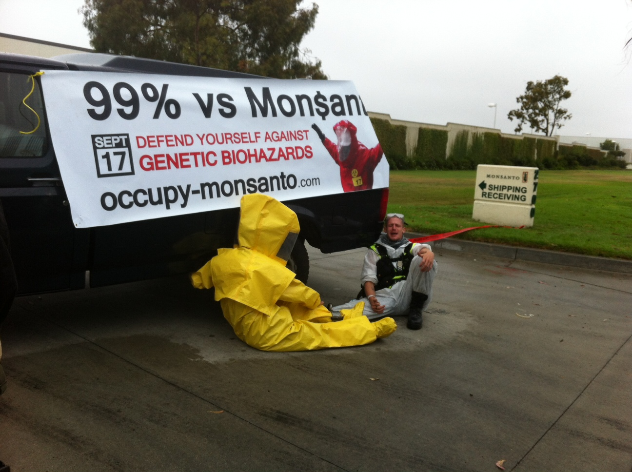 oxnard action photo 2 Photos of GCU Field Agents occupying Monsantos Oxnard facility Seminis Protest Oxnard Occupy Monsanto GMO Seeds GCU Direct Action Decontamination Event CA