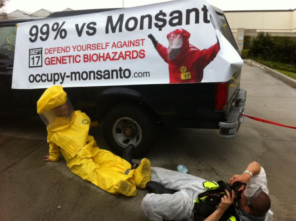 oxnard action photo 32 Photos of GCU Field Agents occupying Monsantos Oxnard facility Seminis Protest Oxnard Occupy Monsanto GMO Seeds GCU Direct Action Decontamination Event CA