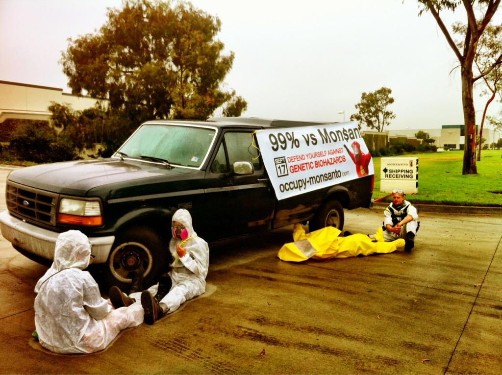 oxnard action photo 34 Photos of GCU Field Agents occupying Monsantos Oxnard facility Seminis Protest Oxnard Occupy Monsanto GMO Seeds GCU Direct Action Decontamination Event CA