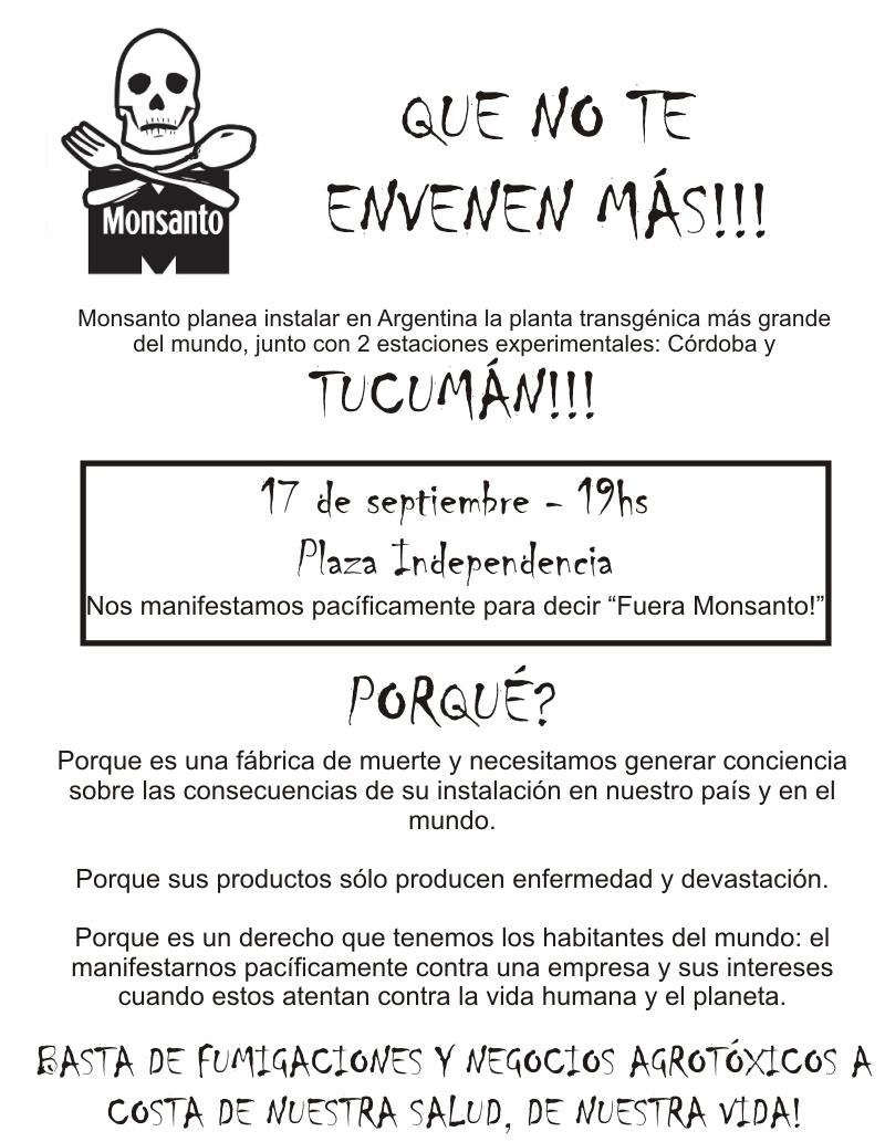 tucuman argentina occupy monsanto Fuera Monsanto!   Tucuman, Argentina, 6:00PM, 9/17 Tucuman South America Protest GCU Demonstration Decontamination Event Argentina