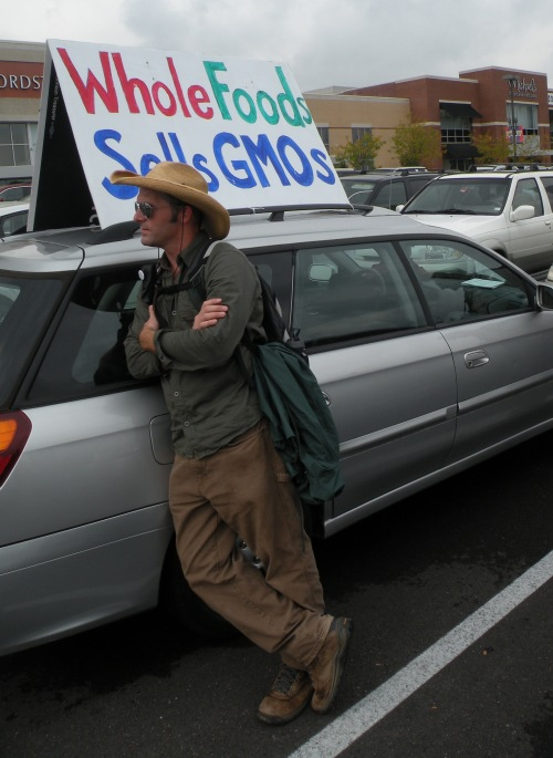 02carSign Occupy Monsanto in St. Louis: Action 2   Maam, Please Dont Take Off Your Shirt in the Parking Lot Whole Foods Market Street Theater STL St. Louis solicitation signs Shoppers Protest Police Picket organic Occupy Monsanto National Lawyers Guild MO Missouri Millions Against Monsanto Millennium Hotel manager International Symposium on Biosafety of Genetically Modified Organisms GMO Free Midwest GMO Free GMO Labeling gmo Free Speech Free expression Eric Herm Demonstration Costume Cashier Brentwood Boycott 