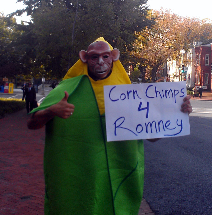 corn chimps 4 romney INCIDENT REPORT: Photos from outside of the Republican Party Headquarters in Washington, DC Washington USDA Republican Party Protest Police Occupy the GMO Candidate Michael Taylor GMO Labeling GCU Field Agents FDA Demonstration DC Corn Chimp Congress Capitol Hill