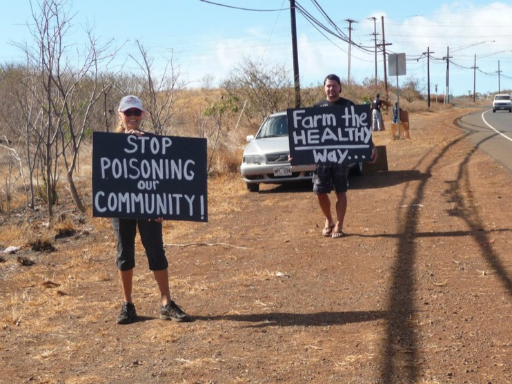 occupy monsanto molokai41 INCIDENT REPORT: Photos from GCU Field Agents in Molokai, Hawaii signs Protest pesticides organic Molokai Kids Island HI Hawaii GMO Free Molokai Farms Demonstration Chemicals