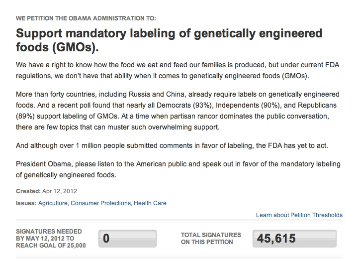 we the people gmo1 The White House Ignoring Multiple We The People Petitions on GMO White House We the People Washington Secession Petition Secession petition Ignore GMO Labeling gmo FDA DC Barack Obama 