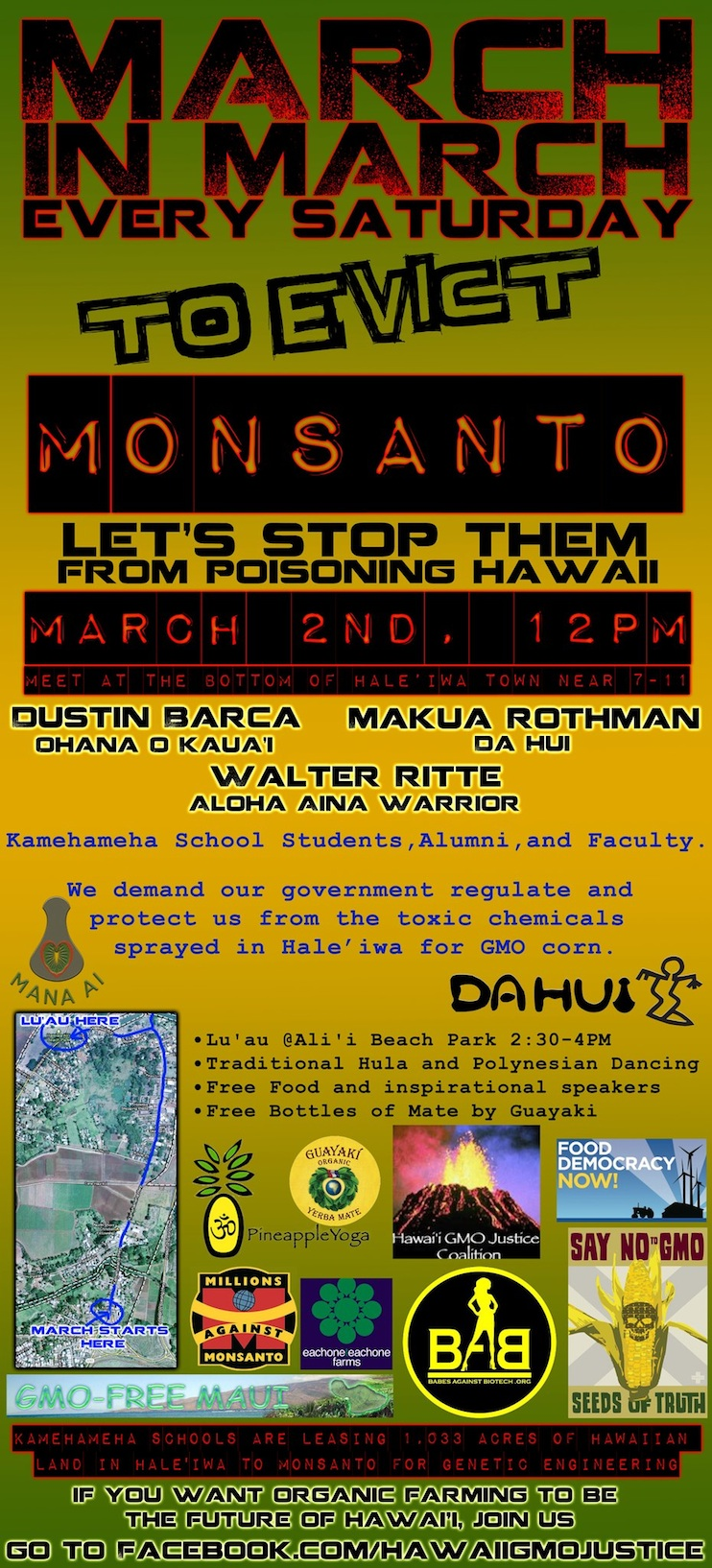 march in march to evict monsant march2 March in March to Evict Monsanto Syngenta Protest Pollution pesticides Occupy Monsanto Oahu Monsanto Molokai Maui March lease land Kauai Kamehameha Schools herbicides Hawaii GMO Justice Coalition Hawaii Haleiwa DuPont Pioneer Dupont Dow Demonstration Dee Jay Mailer Chemicals Big Island Babes Against Biotech