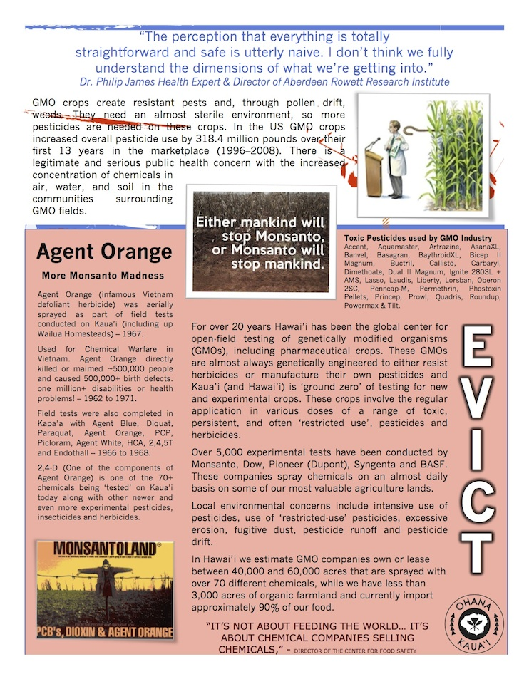 march in march to evict monsanto 3 9 2013 kauai flyer back INCIDENT REPORT: Thousands March in March to Evict Monsanto from Kauai Walter Ritte Testing Protest Poipu Photos pesticides March in March to Evict Monsanto Kauai GMO Labeling gmo Demonstration Chemicals agriculture