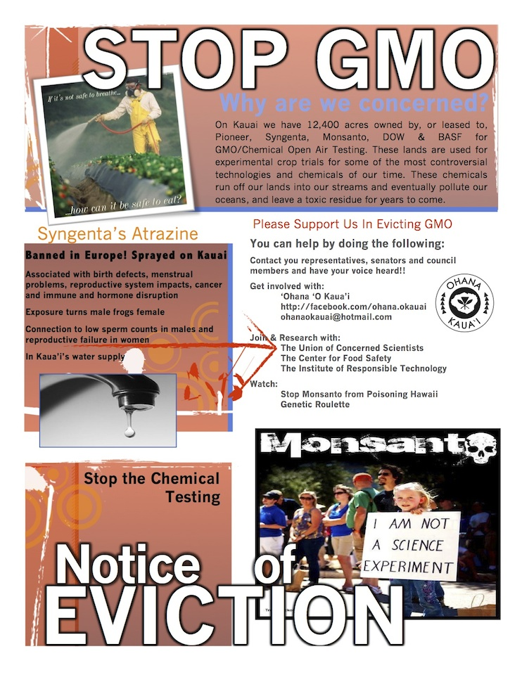 march in march to evict monsanto 3 9 2013 kauai flyer front INCIDENT REPORT: Thousands March in March to Evict Monsanto from Kauai Walter Ritte Testing Protest Poipu Photos pesticides March in March to Evict Monsanto Kauai GMO Labeling gmo Demonstration Chemicals agriculture