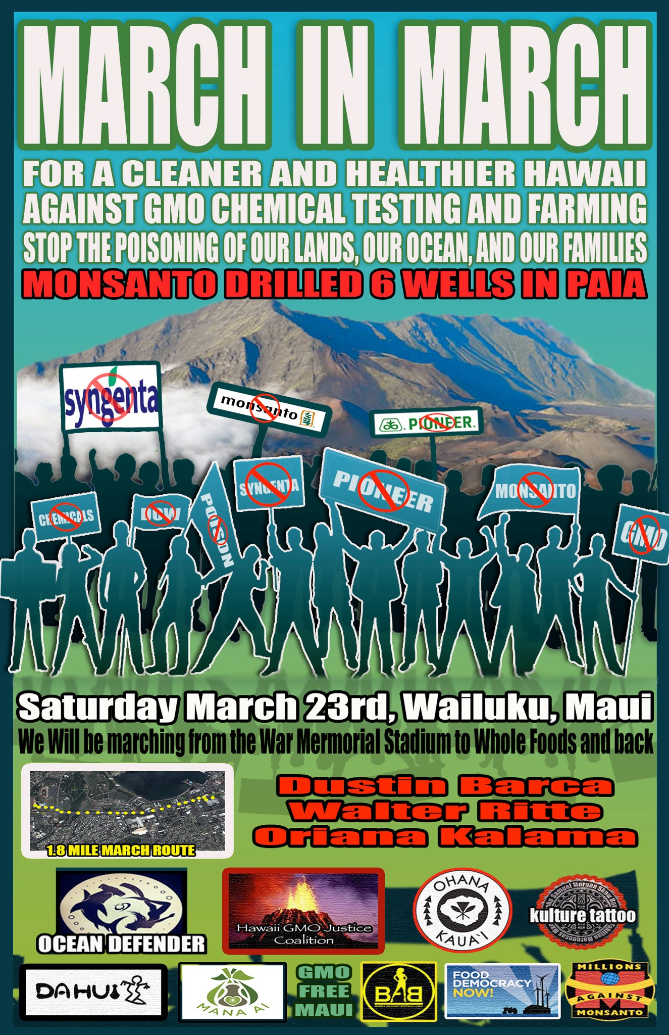 march in march to evict monsanto maui March23 March in March to Evict Monsanto Syngenta Protest Pollution pesticides Occupy Monsanto Oahu Monsanto Molokai Maui March lease land Kauai Kamehameha Schools herbicides Hawaii GMO Justice Coalition Hawaii Haleiwa DuPont Pioneer Dupont Dow Demonstration Dee Jay Mailer Chemicals Big Island Babes Against Biotech