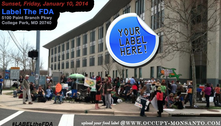 label the FDA flyer WEB Label The FDA Vigil Protest Projection Michael Taylor GMO Labeling gmo Food labels Food and Drug Administration FDA Demonstration Center for Food Safety and Applied Nutrition